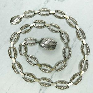 Silver Tone Engraved Chain Link Belt
